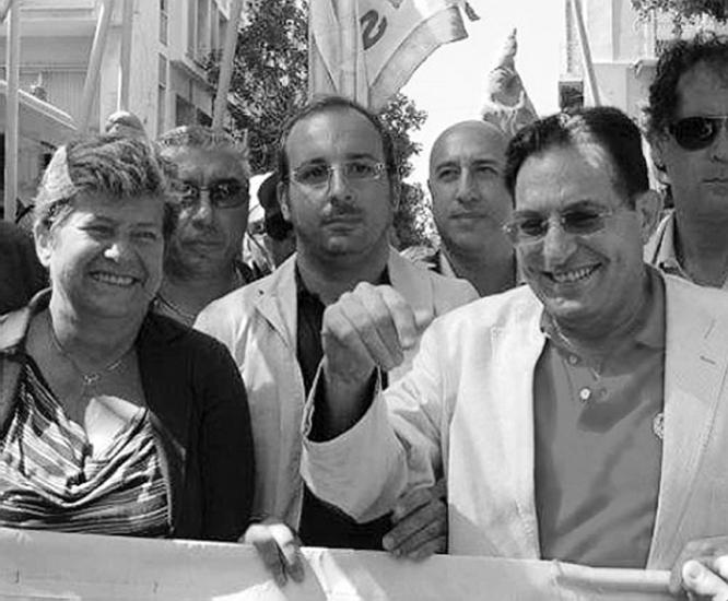 """Da sinistra, Susanna Camusso, la """"signora no"""" del sindacato italiano Cgil, e Rosario Crocetta, presidente della Regione Siciliana, ex dipendente Eni, che ben conosce i meccanismi occulti dell'Ente italiano idrocarburi fondato da Enrico Mattei."""