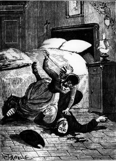 """Adelina Blasi mentre uccide don Saverio, che aveva ricattato per molto tempo. Con i soldi dell'ultimo ricatto sarebbe andata in America, insieme con il fidanzato Bernardo, dove si sarebbero rifatti una vita. (Da un disegno del """"Diavolo rosa"""", del 1906)"""