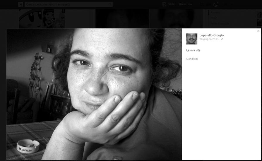 """Patrizia Moscato, 48 anni, uccisa dai colpi sparati dal marito con un fucile calibro 16 caricato a pallettoni. Di lei, su """"Facebook"""", l'uxoricida scriveva che era tutta la sua vita."""