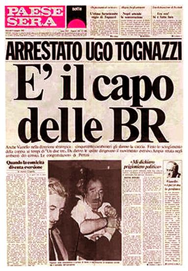 """La prima pagina della finta edizione del quotidiano """"Paese Sera"""" del 10 aprile 1979, pubblicata dalla rivista satirica """"Il Male""""."""