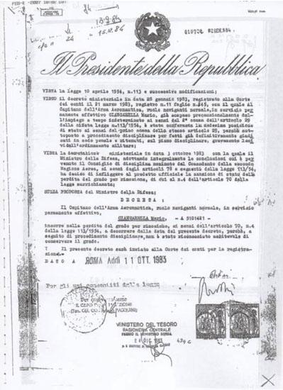 decreto radiazione con firme false di Pertini e Spadolini